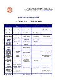 Lista dei centri partecipanti allo Studio Osservazionale ... - Sifo