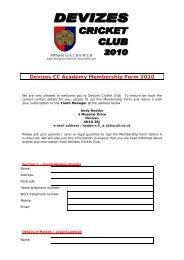 Devizes CC Academy Membership Form 2010 - Devizes Cricket Club