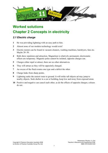 Worked solutions Chapter 2 Concepts in electricity - PEGSnet