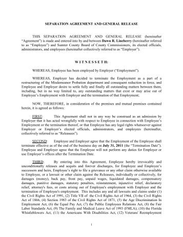 E RIF Separation Agreement   Sumter County, FL