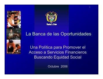La Banca de las Oportunidades una política para promover ... - Alide
