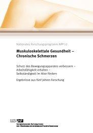 Muskuloskelettale Gesundheit – Chronische Schmerzen - NFP 53