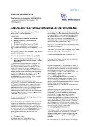 innkalling til ekstraordinær generalforsamling - Wilh. Wilhelmsen ASA