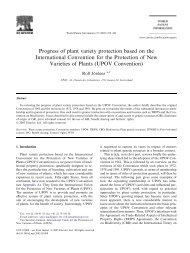 Progress of plant variety protection based on the International ...