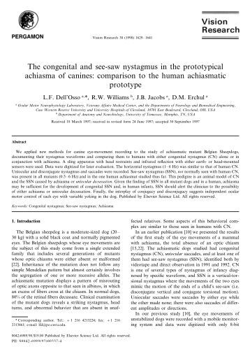 The Sub Clinical See Saw Nystagmus Embedded In Infantile