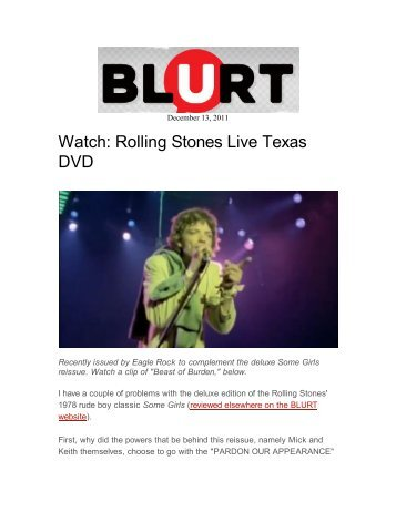 Rolling Stones DVD - Blurt - Kayos Productions