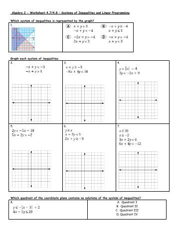 Algebra 2 - Worksheet 4.7/4.8 – Systems of Inequalities and ...