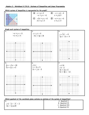 2 Worksheet 4748 Systems Of Inequalities And Linear