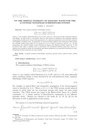 ON THE ORBITAL STABILITY OF SOLITARY WAVES FOR THE 2 ...
