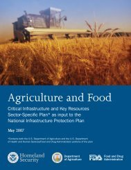 Agriculture and Food Sector-Specific Plan - US Department of ...