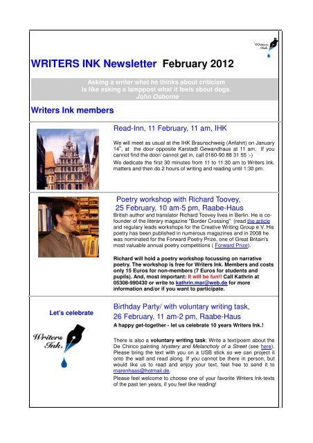 WRITERS INK Newsletter February 2012