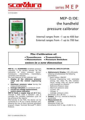 MEP-D/DE: the handheld pressure calibrator series M E P