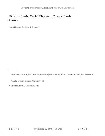 Stratospheric Variability and Tropospheric Ozone - Department of ...
