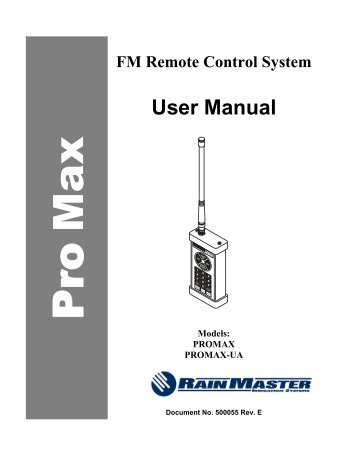 pro max remote control specification rain master control. Black Bedroom Furniture Sets. Home Design Ideas