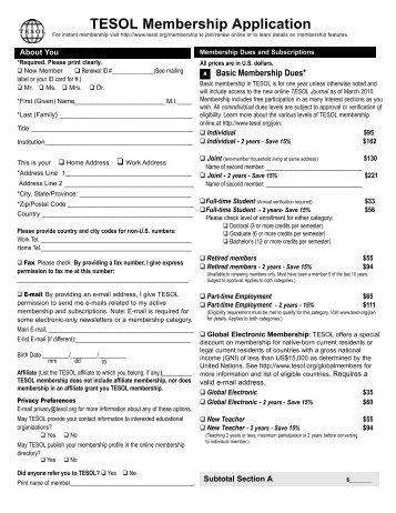 Memberships applications - TESOL