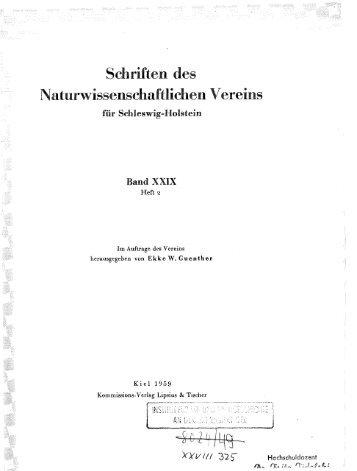 Schriften des Naturwissenschaftlichen Vereins für Schleswig-Holstein