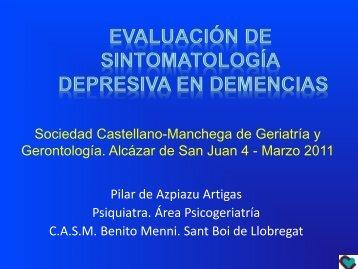 Evaluación de sintomatología depresiva en Demencias - Sociedad ...