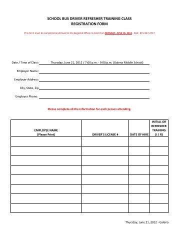 bus driver refresher training class registration form