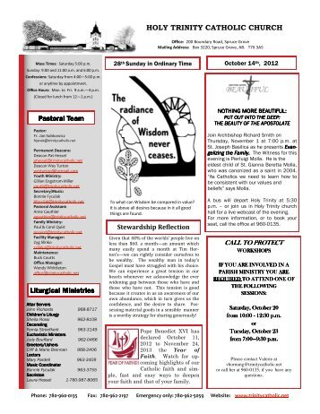 October 15, 2012 Bulletin - Publisher - Holy Trinity Parish