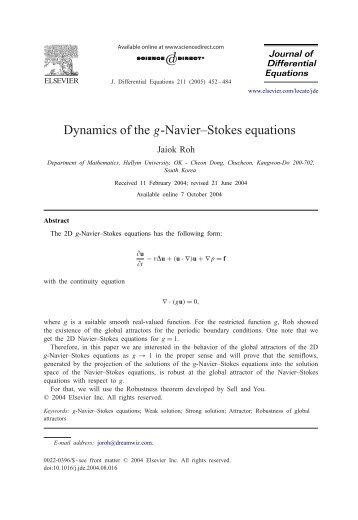 Dynamics of the g-Navier–Stokes equations
