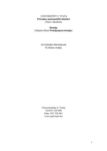 HEMIJA II ciklus 201.. - PMF - Univerzitet u Tuzli
