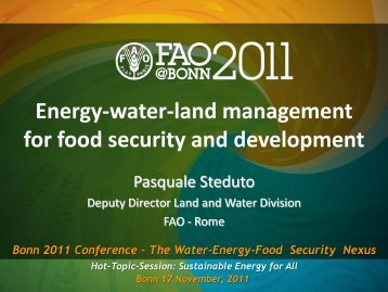 Pasquale Steduto Food and Agriculture Organization of the United ...
