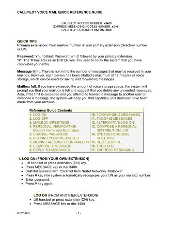 callpilot voice mail quick reference guide - Robert Morris University
