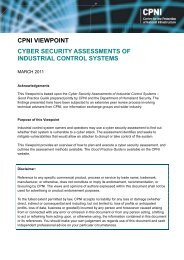 Cyber security assessment of industrial control systems - a CPNI ...