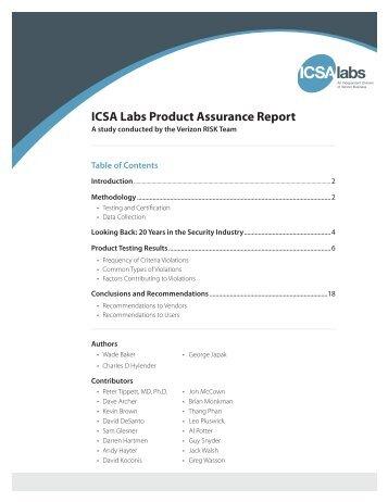 ICSA Labs Product Assurance Report - Verizon Business