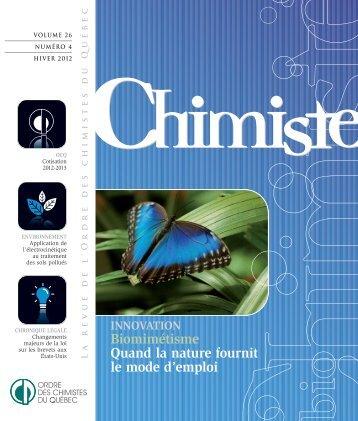 Revue Chimiste Hiver 2012 - Ordre des chimistes du Québec