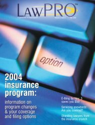 LAWPRO Magazine v.2(3) 2003: 2004 insurance ... - practicePRO.ca