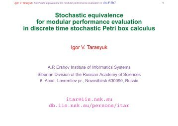 Stochastic equivalence for modular performance evaluation in ...