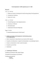 Forschungsstudium: Eröffnungssitzung am 2.11.1999 Übersicht ...