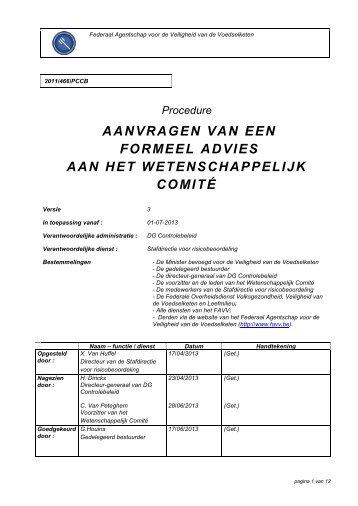Procedure voor het aanvragen van een formeel advies aan ... - FAVV