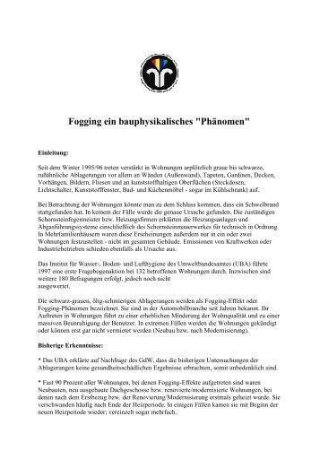 Fogging ein bauphysikalisches - Bei der Schornsteinfeger-Network ...