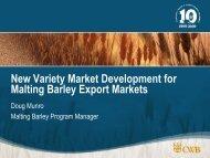 New Variety Market Development for Malting Barley Export Markets