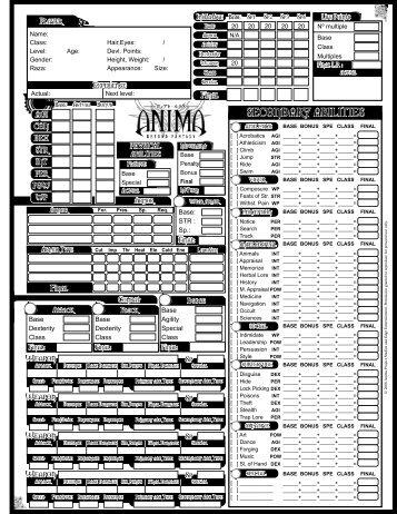 Anima Character Sheet PDF - Fantasy Flight Games
