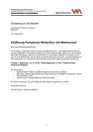 Eröffnung Pumptrack Winterthur mit Weltneuheit - Sportamt Winterthur
