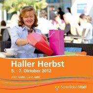 Flyer zum Haller Herbst - Stadt Schwäbisch Hall