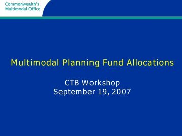 Multimodal Planning Fund Allocations - Commonwealth ...
