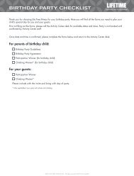 BIRTHDAY PARTY CHECKLIST - Life Time Fitness