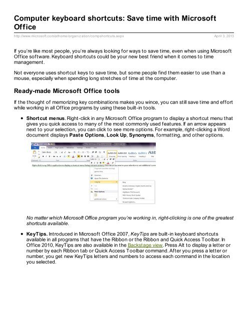 Computer keyboard shortcuts: Save time with Microsoft Office