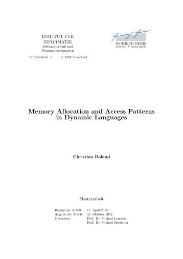 Memory Allocation and Access Patterns in Dynamic ... - STUPS Group