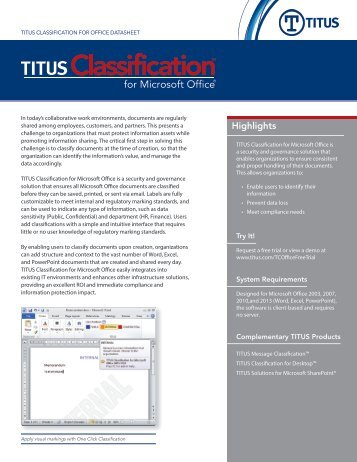 TITUS Classification for Microsoft Office