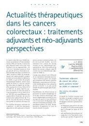 Actualités thérapeutiques dans les cancers colorectaux : traitements ...