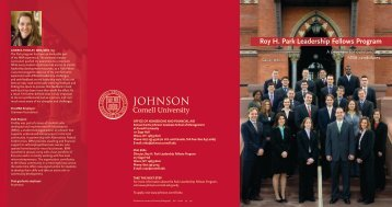 Roy H. Park Leadership Fellows Program - Johnson Graduate ...