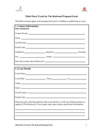 Third Party Event For The Redwood Proposal Form 1. Contact .  Party Proposal