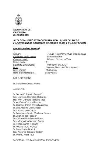 acta de la sessió extraordinària núm.: 8/2012 del ple de l'ajuntament ...
