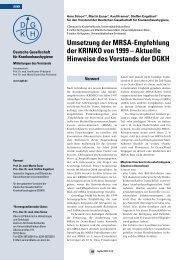 Umsetzung der MRSA-Empfehlung der KRINKO - Deutsche ...