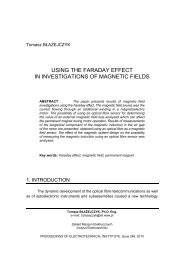 using the faraday effect in investigations of magnetic fields - Instytut ...
